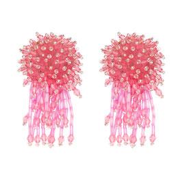 """Ohrstecker """"Medusa"""" - Glitzernde Kristalle in Pink"""