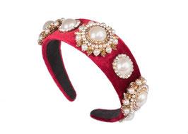 """Haarreif """"Champagne Problems"""" - Glamour Perlen Design aus Samt in Rot"""