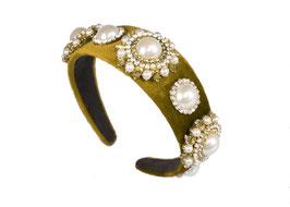 """Haarreif """"Champagne Problems"""" - Glamour Perlen Design aus Samt in Grün"""