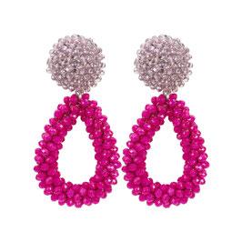 "Ohrclips ""Bougainvillea"" aus Kristall in Pink und Flieder"