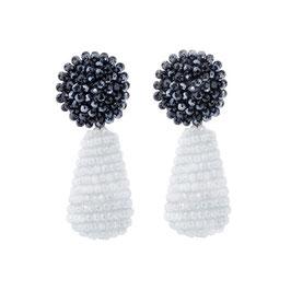 "Ohrclips ""Caviar i Cabernet"" - Kristall Tropfen in Blau & Grau"