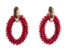 """Ohrringe """"Cocktail @ Cipriani"""" aus Gold mit Kristallen Rot"""