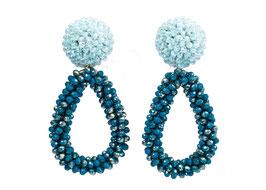 """Ohrclips """"La Grotta Azzurra"""" aus Kristall in Petrol & Blau"""