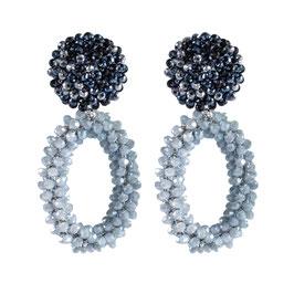 "Ohrclips ""Fiocco"" aus Kristall in Eisblau"