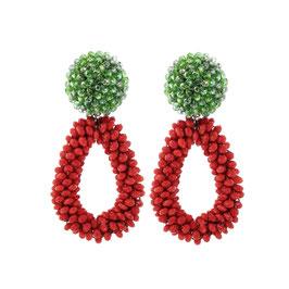 "Ohrclips ""Spaghetti Napoli"" aus Kristall in knalligem Rot & Grün"
