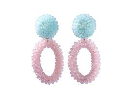 "Ohrclips ""Dolci"" aus Kristall in Rosa & Hellblau"