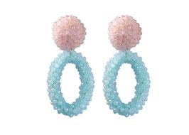 "Ohrclips ""Biscotti"" aus Kristall in Hellblau & Rosa"