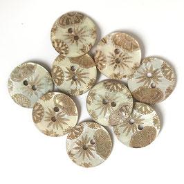 Perlmuttknopf Goldblüten