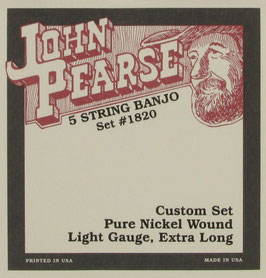 John Pearse® Banjo 5 String Pure Nickel Extra Long, .009 - .020, 1820L (BEJS)