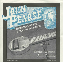 John Pearse Hawaiian Lap Steel Eight String Nickel Wound Am7 Tuning 016-054 7500