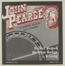 John Pearse® Banjo 5 String Nickel Extra Long Medium, .010 - .023, 1800M (BEJS)