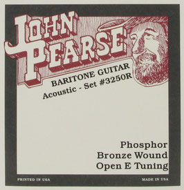 John Pearse® Resophonic Guitar Baritone Phosphor Bronze Open E Tuning, .017 - .076, 3250 (BEJS)