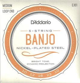 D'Addario Banjo 5 Strings Nickel Wound, Medium (EJ61)