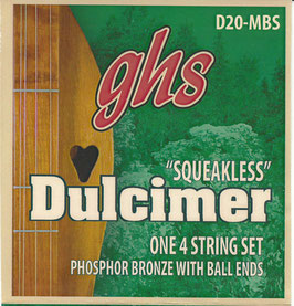 "GHS Strings Dulcimer Ball End Plain/Phosphor Bronze Squeakless (42"" Winding), .012 - .024"