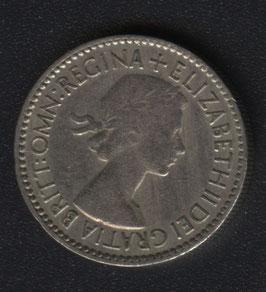 Sixpence Kupfernickel Queen Elisabeth II, 1953 bis 1967