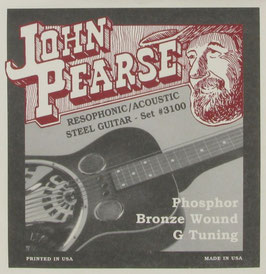 John Pearse® Resophonic Guitar Phosphor Bronze G Tuning, .016 - .059, 3100 (BEJS)