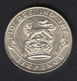 Sixpence Münze Silber King George VI bis 1946
