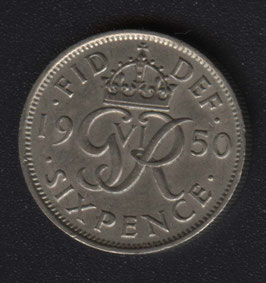 Sixpence Kupfernickel King George VI, 1947 bis 1952