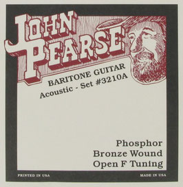 John Pearse® Baritone Acoustic Guitar Phosphor Bronze Round Wound Open F Tuning, .015 - .062, 3210 (BEJS)