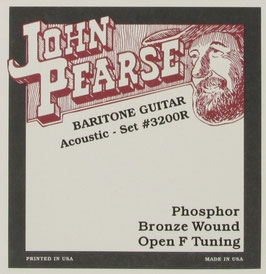John Pearse® Resophonic Guitar Baritone Phosphor Bronze Open F Tuning, .015 - .068, 3200 (BEJS)