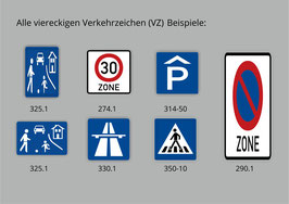 Quadratische und Rechteckige Verkehrszeichen