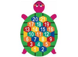 Schildgröte mit Zahlen von 1-21