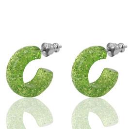 Creolen Glitter Green flash