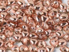 Glass Hearts  Crystal Capri gold