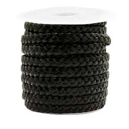 Flach geflochten 5 mm  Leder Metallic black