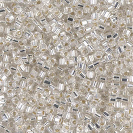 1,8 mm Square Bead  Crystal SIlver lined 0001