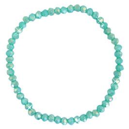 Facettglas Armband lt Teal Green Pearl Shine