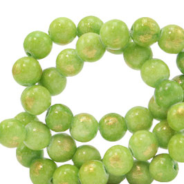 Jade lime green gold  4mm