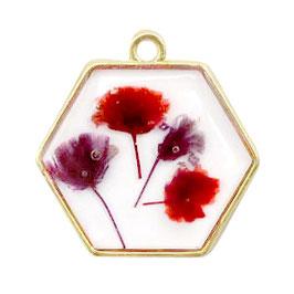 Anhänger mit getrockneter Blume Hexagon