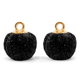 Pompon Anhänger 12mm Black Gold