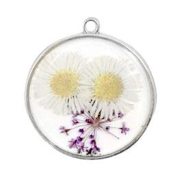 Anhänger mit getrockneter Blume rund