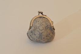 結城紬のミニ財布  総柄薄茶