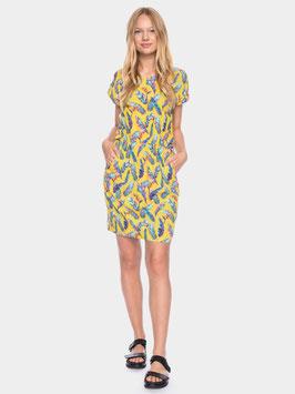 NEU: Kleid mit Federnprint auf Gelb von ATO Berlin