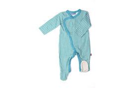 Babypyjama gemustert Türkis/Weiss von Froy&Dind