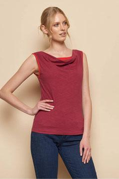 SALE: Duofarben-Shirt mit Wasserfallkragen in dunkelrot/rot von Tranquillo