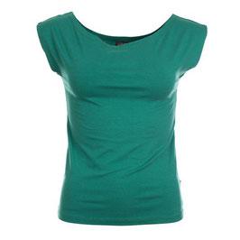 Damenshirt ohne Ärmel grün mit Bateau-Ausschnitt