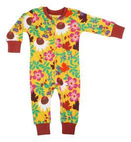 NEU: Einteiler-Pyjama Blumen auf Gelb bis Grösse 122 von DUNS