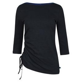 SALE: Langarm-Shirt Schwarz mit Raffung von Tranquillo