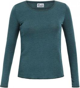 Wolle-Damenshirt Langarm petrol mélange von Jalfe