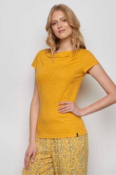SALE: Shirt mit Wasserfallkragen in Gelb von Tranquillo