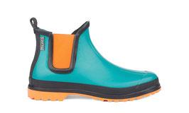 NEU: Gummistiefel Türkis/Orange aus Naturkautschuk von Grand Step Shoes