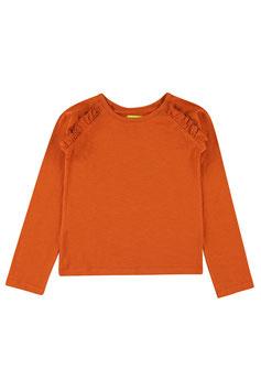 Langarm-Shirt mir Rüsche in Mandarin Red von Lily Balou