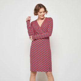 SALE: Midi-Kleid gemustert mit Wickelausschnitt von Tranquillo
