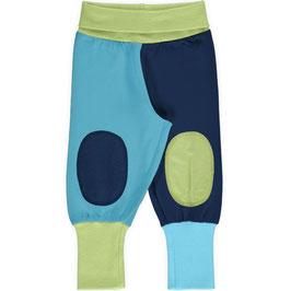 NEU: Baby-Hose mit Knieaufsätzen in Blau/Grün von Maxomorra