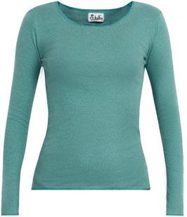 Damenshirt gestreift Wasser-Grün mit türkis Abschluss von Jalfe