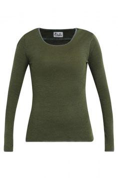 Wolle-Damenshirt Langarm in olivegrün mit Abschluss in zink von Jalfe